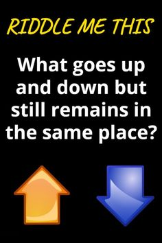 Solve me this: What goes up and down but still remains in the same place? Tricky Riddles With Answers, Best Riddle, Still Remains, Train Your Brain, Brain Teasers, Be Still, Clever, Letters, Education
