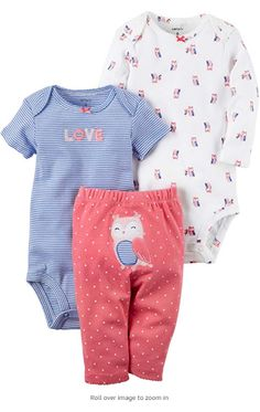 Carter's Baby Girls' 3 Piece Owl Set Size 18 Months for sale online Carters Baby Clothes, Carters Baby Girl, Cute Baby Clothes, My Baby Girl, Babies Clothes, Babies Stuff, Little Babies, Baby Kids, Polka Dot Pants