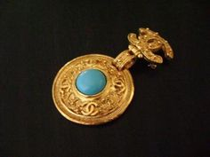 Chanel  Turquoise Stone Dangle Brooches