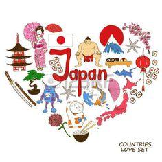 maneki neko: Colorful collection croquis de symboles japonais. Coeur concept de forme. fond Voyage