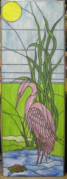 Stained glass flamingo (could be used as Heron with different glass colors)