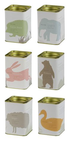 tea box with rabbit, duck and other animals