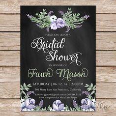 Printable Bridal Shower Invite / chalkboard bridal shower invite / DIY Wedding / watercolor flowers