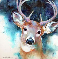 Deer Painting - Deer In Blue Mood by Nicole Gelinas Watercolor Deer, Watercolor Art Paintings, Animal Paintings, Deer Paintings, Canvas Paintings, Canvas Artwork, Watercolour, Animal Art Projects, Cool Art Projects