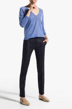 NAVY BLUE LINEN SUIT TROUSERS - View all - Trousers - WOMEN - Turkey