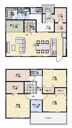 間取り 38坪 … Japanese House, Japanese Style, Japanese Architecture, Room Planning, Modern Traditional, Tiny Living, House Floor Plans, My Dream Home, New Homes