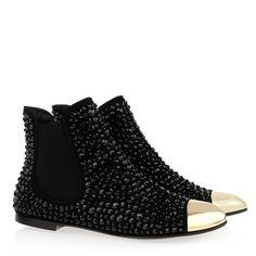Giuseppe Zanotti crystal Beatles Black Leather Women boots