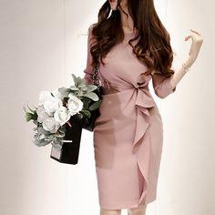 Elegant Ladies Twist Pink Ruffle Dress