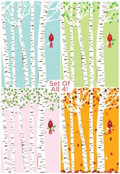 Cardinal Bird Seasons & Birch Trees Art