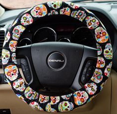 Colorful Candy Sugar Skulls Padded Steering by FireflyCreations42
