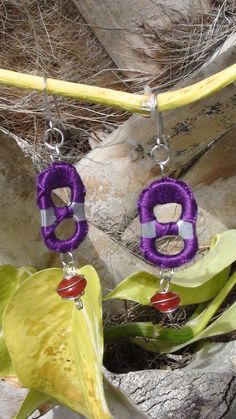 Red and Purple Red Hat Lady Upcycled Pop Tab Soda Tab Bracelet W/ Toggle Clasp and 2 Sets of Earrings. $25.00, via Etsy.