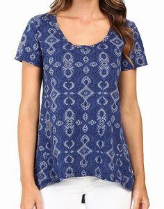 f7cc6fdba7f Fresh Produce NEW Blue Womens Size XS Printed Scoop Neck Knit Top $55 090 # fashion