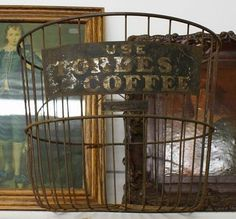 wire shopping basket with coffee advertising