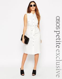 ASOS PETITE Sleeveless 70's Shirt Dress