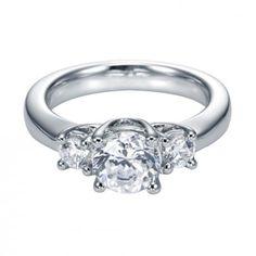 Modern Three Stone Engagement Ring with Round Sidestones Round Diamond Engagement Rings, Three Stone Engagement Rings, Three Stone Rings, 3 Carat, Round Diamonds, Wedding Bands, White Gold, Jewelry, Wishful Thinking