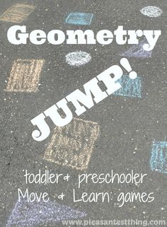 """Shape Game  Using several different colors of sidewalk chalk, draw different shapes, in different colors. Once I drew the """"game board"""" on our driveway. We looked at the shapes, and talked about the different colors and shapes we saw. Then I called out a few shapes or colors to get the kids started."""