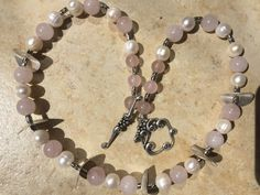 Rose Quartz and Pearl Necklace, Pink and White Necklace, Pink Gemstone and Pearl Necklace, Pink Stone Necklace, Pink and Pearl Necklace  ~ Rose