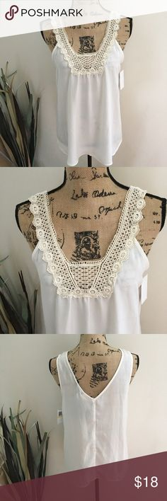 NWT Macy's ivory tank with lace detail Miss Chevious brand from Macy's ivory lightweight top with pretty lace detail at the neckline. Dress this up for work or make it boho chic for the weekend. NWT. Nonsmoking home. Sz medium. Measurements upon request. Miss Chievous Tops Tank Tops