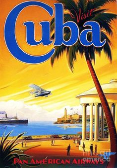 Art Deco Poster featuring the painting Visit Cuba by Reproduction