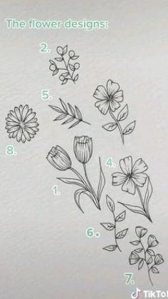 Flower Art Drawing, Flower Line Drawings, Flower Sketches, Floral Drawing, Art Drawings Sketches Simple, Pencil Art Drawings, Doodle Drawings, Easy Drawings, Doodle Art