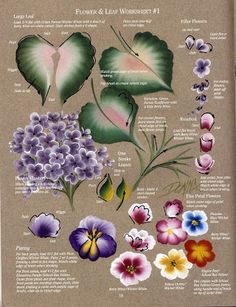 DONNA'S BASIC STROKES - Flowers & Leaf Worksheet