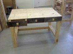 Pallet desk with working drawers!