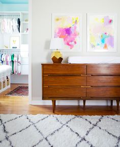 girl nursery, mid century modern dresser, abstract wall art