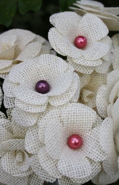 Brurlap Rose With Beaded Center 6 petal approx by BloomingBurlap