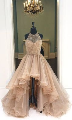 Halter High-Low Beading Prom Dress,Long Prom Dresses,Charming Prom Dresses,Evening