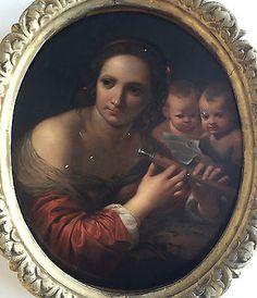 Giulia Lega - Allegory of Music. Oil on panel - Italian School Old Master, Mona Lisa, Paintings, Oil, Couple Photos, Best Deals, School, Music, Artwork