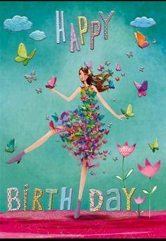 Happy Birthday card by Mila Marquis Happy Birthday Wishes Cards, Happy Birthday Flower, Happy Birthday Beautiful, Happy Birthday Pictures, Birthday Blessings, Birthday Wishes Quotes, Birthday Fun, Happy Birthday Marina, Happy Belated Birthday