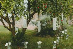 Hanging table plan for an elegant wedding in the Italian countryside. Images by http://monikaphotoart.com/
