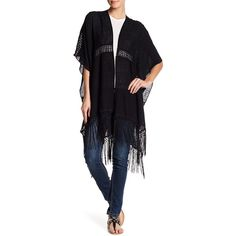 Free Press Crochet Inset Fringe Trim Ruana ($25) ❤ liked on Polyvore featuring outerwear, black, fringe ponchos, style poncho, short poncho, open front poncho and crochet poncho