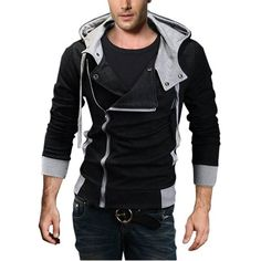DJT Oblique Zipper Hoodie Casual - Mens Urban Clothing