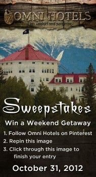 Win a weekend getaway in one of the Omni Haunted Hotels, drawing Oct 31, 2012! html://ZomniHotels.com