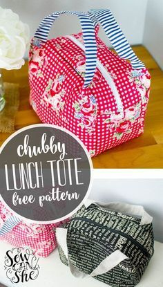 Chubby Lunch Tote - Free Sewing Pattern! Cute free lunch bag sewing pattern.