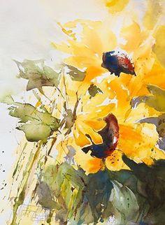 Sunflowers by Christa Friedl Watercolor ~ 41 cm x 31 cm - paint and art Sunflower Art, Watercolor Sunflower, Abstract Watercolor, Watercolor Flowers, Watercolor Paintings, Watercolors, Watercolor Border, Watercolor Ideas, Pinturas Em Tom Pastel
