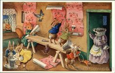 The Paperhangers by Racey Helps Art, Vintage postcard.