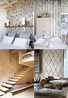 Wall patterns (from Wall & Deco), floating stairs + warm neutrals