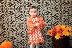 Fall 2013 Orange and White Chevron and Polka by JustSewStinkinCute, $40.00