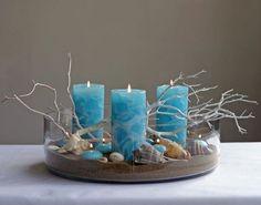 Beach centerpiece using blue pillar candles. Great Affordable Idea if you Stock … – Pillar Candles İdeas. Blue Beach Wedding, Seaside Wedding, Beach Weddings, Spring Wedding, Beach Centerpieces, Christmas Centerpieces, Candle Centerpieces For Home, Seashell Crafts, Beach Crafts