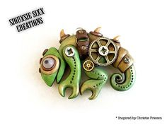 Steampunk Chameleon Lizard Pendant inspired by Polymer clay artist Christi Friesen and made by SiouxsieSixxCreation