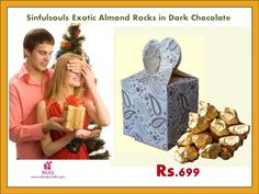 Buy 16 Exotic Almond Rocks in Dark #Chocolated packed in Design Printed Box for your dear onces. http://bookurgift.com/1626-sinfulsouls-exotic-almond-rocks-in-dark-chocolate