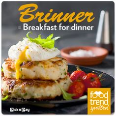 If you like brunch, you'll love brinner! Turn your normal meal schedule on its head and enjoy this delicious breakfast tonight. Bubble And Squeak, Recipe Search, Food Trends, Breakfast For Dinner, Baking Recipes, Delicious Desserts, Brunch, Dinner Recipes, Meals