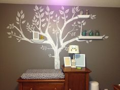 Wall decal with shelves coordinating with the design