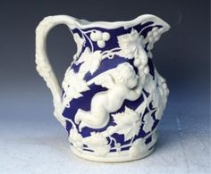 Lot: 193: English Minton Blue Parian Ware Jug ca.1850, Lot Number: 0193, Starting Bid: $600, Auctioneer: Showplace Antique + Design Center, Auction: Asian Objects, Decorative Art & Modern Design, Date: October 27th, 2011 EDT