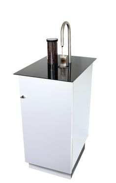 A coffee brewer that works under the counter (grinds whole beans, brews, and warms milk) to make several diffident kinds of coffee drinks. Can be controlled from your ipod/phone/pad.