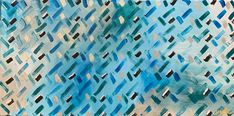Blue, turquoise and white criss-cross pattern painting.