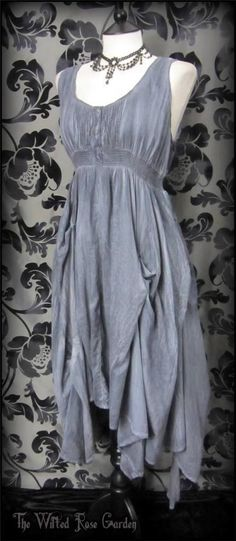 Stormy Grey Blue Tie Dye Hitched Summer Dress 14 16 Hippie Bohemian Festival   THE WILTED ROSE GARDEN