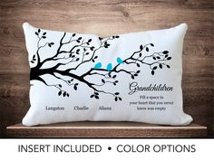 Mother's Day Gift for Grandma - Give your mother a beautiful pillow with her Grandchildren's names for Mother's Day. Family tree pillow with grandchildren's names